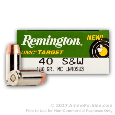 50 Rounds of 180gr MC .40 S&W Nickel Ammo by Remington