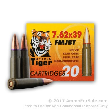 20 Rounds of 124gr FMJBT 7.62x39mm Ammo by Golden Tiger