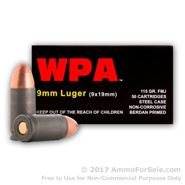 50 Rounds of 115gr FMJ 9mm Ammo by Wolf