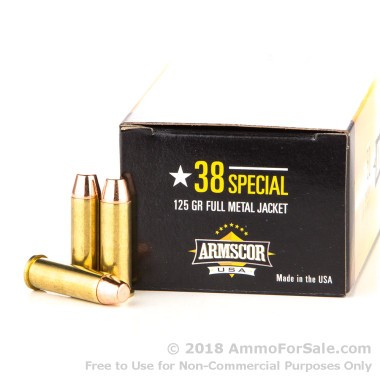 50 Rounds of 125gr FMJ .38 Spl Ammo by Armscor