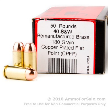 50 Rounds of 180gr FMJFN .40 S&W Ammo by BVAC