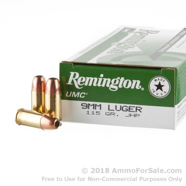 50 Rounds of 115gr JHP 9mm Ammo by Remington