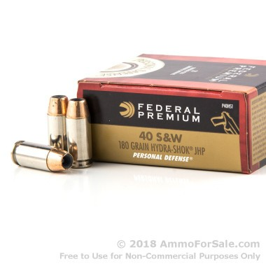 20 Rounds of 180gr JHP Hydra Shok .40 S&W Ammo by Federal Premium