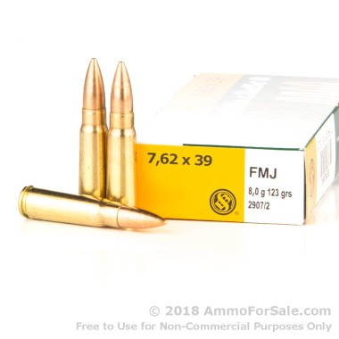 20 Rounds of 123gr FMJ 7.62x39mm Ammo by Sellier & Bellot