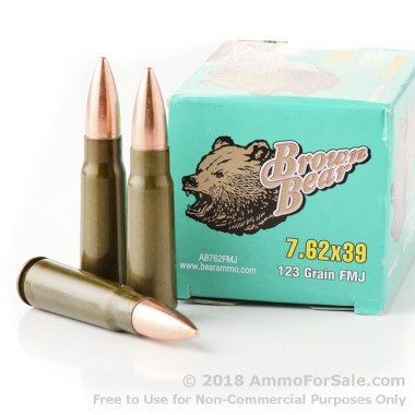 500  Rounds of Polymer Coated 123gr FMJ 7.62x39mm Ammo by Brown Bear