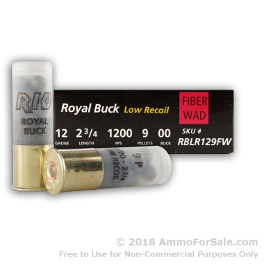 5 Rounds of  00 Buck 12ga Ammo by Rio Ammunition
