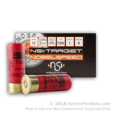 25 Rounds of 1 ounce #8 shot 12ga Ammo by NobelSport