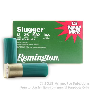15 Rounds of 1 ounce Rifled Slug 12ga Ammo by Remington