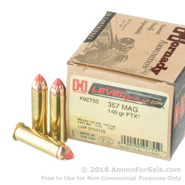 25 Rounds of 140gr FTX .357 Mag Ammo by Hornady