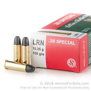 50 Rounds of 158gr LRN .38 Spl Ammo by Sellier & Bellot