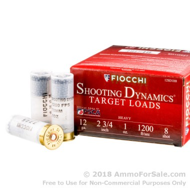 25 Rounds of 1 ounce #8 shot 12ga Ammo by Fiocchi