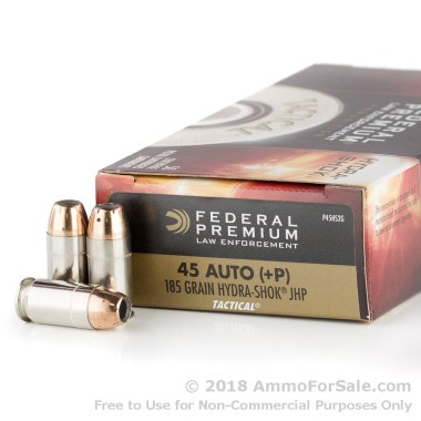1000 Rounds of 185gr JHP .45 ACP +P Ammo by Federal