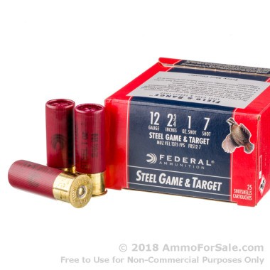 25 Rounds of 1 ounce #7 Shot (Steel) 12ga Ammo by Federal
