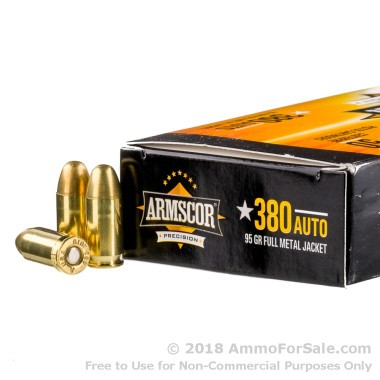 50 Rounds of 95gr FMJ .380 ACP Ammo by Armscor
