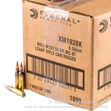 1000 Rounds of 55gr FMJBT 5.56x45 XM193 Ammo by Federal
