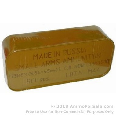 500  Rounds of 55gr FMJ .223 Ammo by Tula in Metal Container