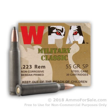 20 Rounds of 55gr SP .223 Ammo by Wolf