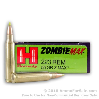 20 Rounds of 55gr Z-Max .223 Ammo by Hornady