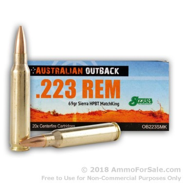 20 Rounds of 69gr HPBT .223 Ammo by Australian Defense Industries