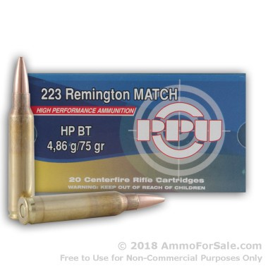20 Rounds of 75gr HPBT .223 Ammo by Prvi Partizan