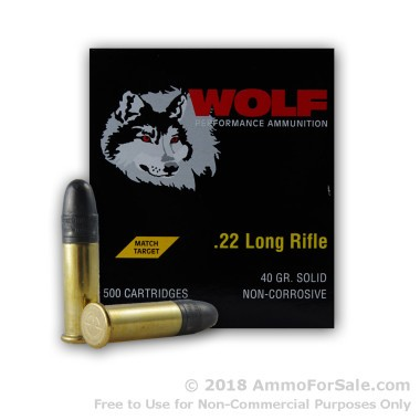 500  Rounds of 40gr LRN .22 LR Ammo by Wolf Match Target