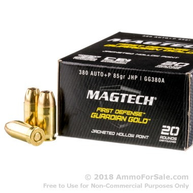 20 Rounds of 85gr JHP .380 ACP Ammo by Magtech