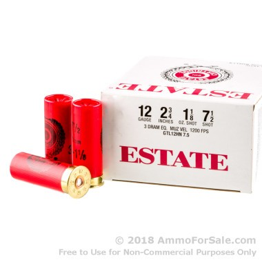 250 Rounds of 1 1/8 ounce #7 1/2 shot 12ga Ammo by Estate Cartridge