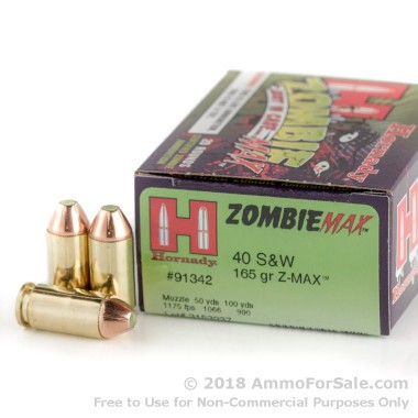 20 Rounds of 165gr Z-Max .40 S&W Ammo by Hornady