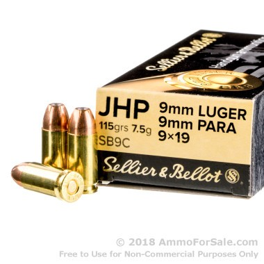 1000 Rounds of 115gr JHP 9mm Ammo by Sellier & Bellot