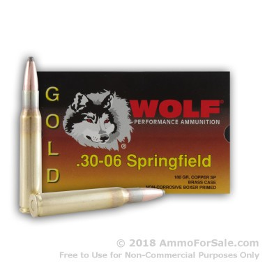 20 Rounds of 180gr SP 30-06 Springfield Ammo by Wolf