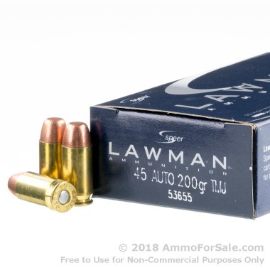 50 Rounds of 200gr TMJ .45 ACP Ammo by Speer Lawman