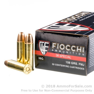 50 Rounds of 158gr FMJ .38 Spl Ammo by Fiocchi