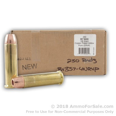 250 Rounds of 158gr CPHP .357 Mag New Ammo by BVAC