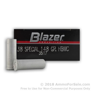 50 Rounds of 148gr HBWC .38 Spl Ammo by Blazer