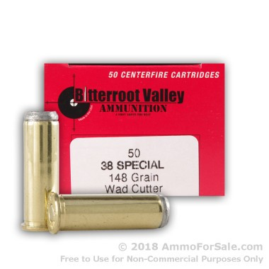 50 Rounds of 148gr Lead Wadcutter .38 Spl Ammo by BVAC