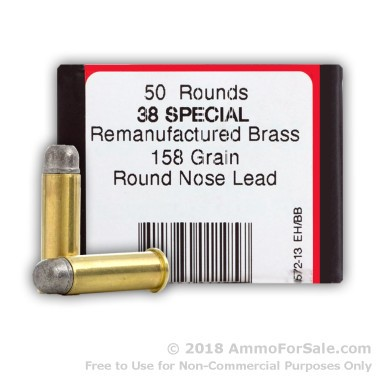50 Rounds of 158gr LRN .38 Spl Ammo by BVAC