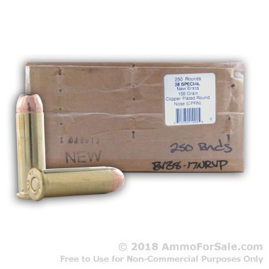 250 Rounds of 158gr CPRN .38 Spl Ammo by BVAC