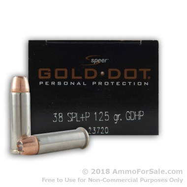 20 Rounds of 125gr JHP .38 Spl +P Ammo by Speer