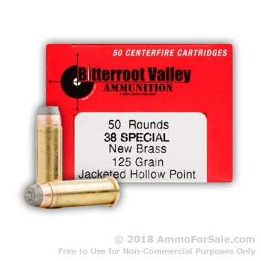 50 Rounds of 125gr JHP .38 Spl Ammo by BVAC