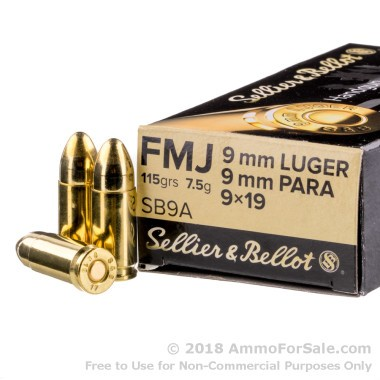 50 Rounds of 115gr FMJ 9mm Ammo by Sellier & Bellot