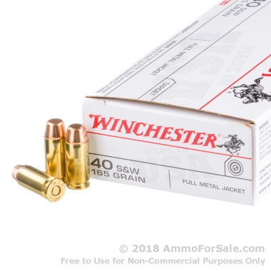 50 Rounds of 165gr FMJ .40 S&W Ammo by Winchester