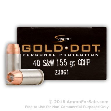 20 Rounds of 155gr JHP .40 S&W Ammo by Speer