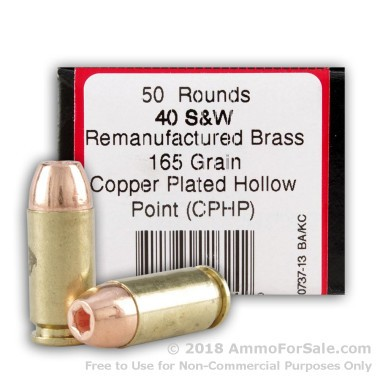 50 Rounds of 165gr CPHP .40 S&W Ammo by BVAC