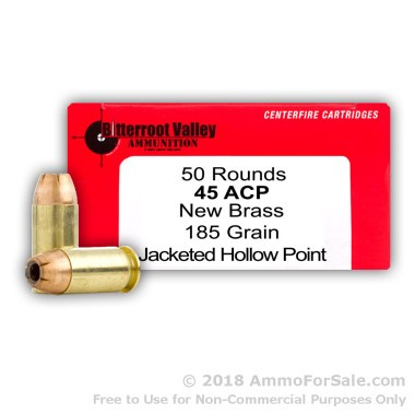 50 Rounds of 185gr JHP .45 ACP Ammo by BVAC