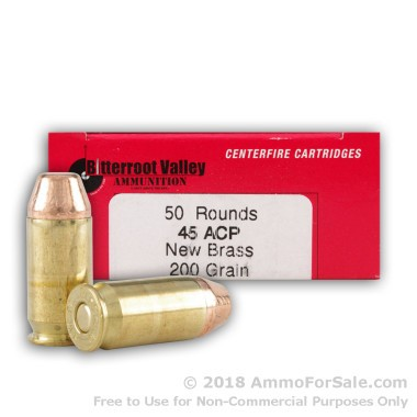 50 Rounds of 200gr PFP .45 ACP Ammo by BVAC