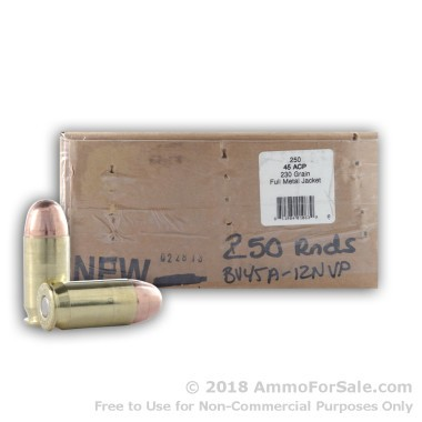 250 Rounds of 230gr CPRN .45 ACP Ammo by BVAC
