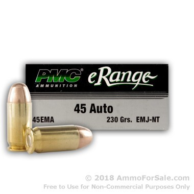 50 Rounds of 230gr TMJ .45 ACP Ammo by PMC