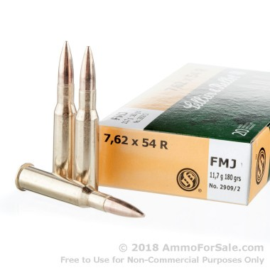 20 Rounds of 180gr FMJ 7.62x54r Ammo by Sellier & Bellot