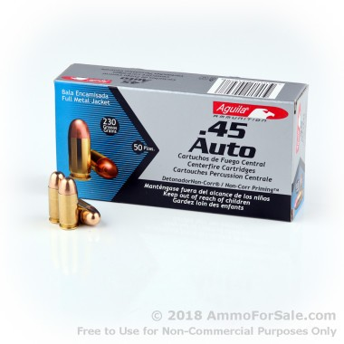 50 Rounds of 230gr FMJ .45 ACP Ammo by Aguila
