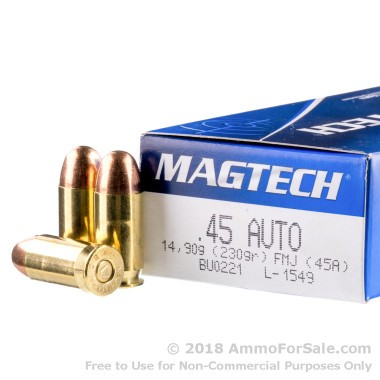 50 Rounds of 230gr FMC .45 ACP Ammo by Magtech